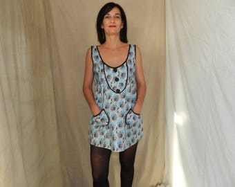 Blue and black cotton tank top and trim
