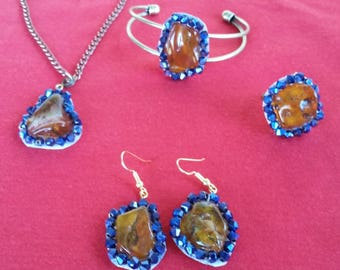 Jewelry Set, art nouvaue, blue, amber, amber stones, amber necklace with pendant, earrings, amber earrings, amber ring, handmade, exclusive.