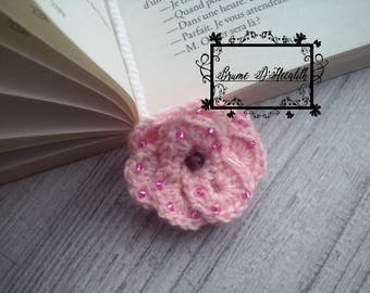 Bookmark pink rose and pink pearls