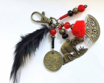 "ELEPHANT bag charm, Keychain red and bronze ""Asia"""