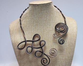 Necklace brown and Black Aluminum wire jewelry adjustable