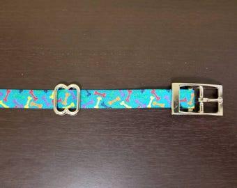 "3/4"" Blue Bones Jacquard Dog Collar"