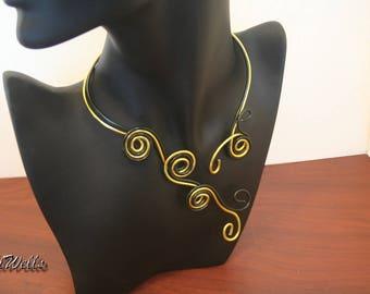 """Necklace """"Spiralou ebony and gold"""""""