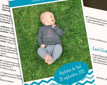 Mass booklet baptism boy personalized print yourself