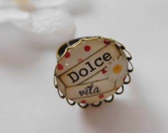 """Scalloped ring """"Dolce Vita""""support bronze cabochon 20 mm """""""