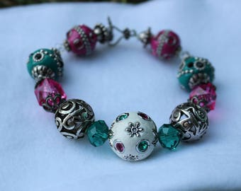 Beaded Bracelet in Aqua, Pink, and Silver