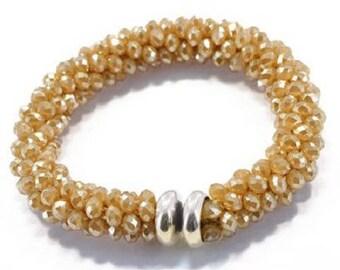 Silver Glass Bead Bracelet
