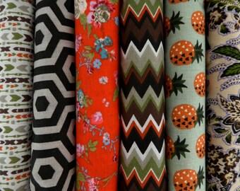 Bradés, 0.97 cts chaque! Assortiment 6 coupons tissus 100% coton 50/48 cm,  imprimés motifs fleurs, vintage, géométrique, exotique, japonais