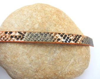 20 cm Strip leather, 10mm Brown Snake print
