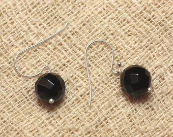 Earrings 925 sterling silver and 10mm faceted Black Onyx