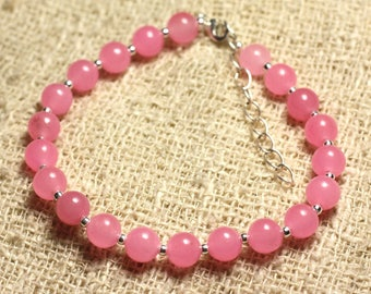 Bracelet 925 sterling silver and stone - 6mm pink Jade