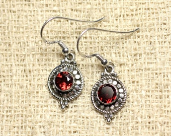 BO210 - circles 19mm Garnet 925 Sterling Silver earrings