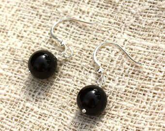 925 Silver - 10mm black Onyx earrings