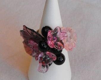 Flower ring adjustable setting bag.0195 glass beads