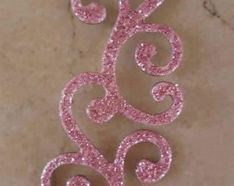 set of 10 pink applique has glitter 62 x 25 mm