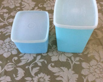 1960s Tupperware, two vintage Blue plastic containers, modern Light blue rectangular vintage Tupperware containers, Tupperware pastel series