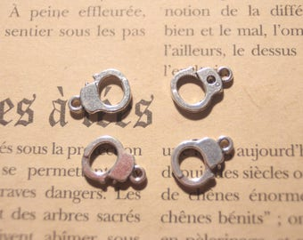 2 silver metal handcuff charms
