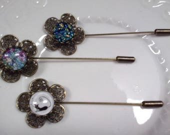 Bronze fibula pin Hat pin - 7 cms - 10 mm cabochon - 3 designs to choose from