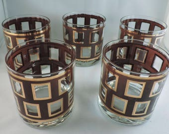 Vintage George Briard Lowball Mid-Century Glassware, set of five