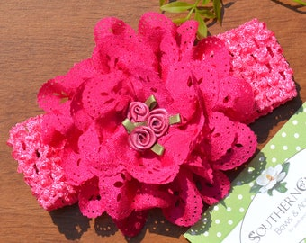 Deep Rose Baby Headband. Crochet Band with Pretty Cutwork Flower and Three Satin Roses in Center. Fits Newborn to Toddler.
