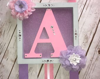 Personalized hair bow holder, hair bow organizer, headband holder