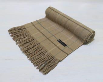 VINTAGE Pierre Cardin Brown Nova Check Scarf Muffler 100% Wool