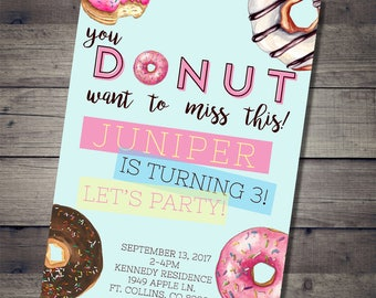 Donut birthday invitation | printable doughnut girl party