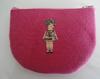 "Pink felt wallet ""retro chic No. 2"""