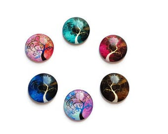 20 mm x 6 illustrated glass cabochons