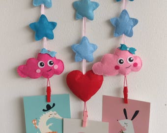 Mobile with pink clouds and star of felt