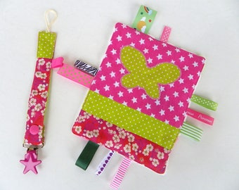 Baby gift box: set of a tag blanket and a matching pacifier liberty mitsy flashy colors