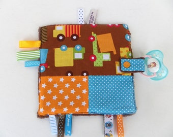 "Doudou labels for baby boy with tab hook pacifier theme ""trucks"""