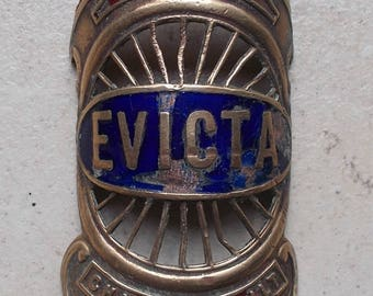 Old plate Evicta bikes cycle bike bicycle head badges bicycles