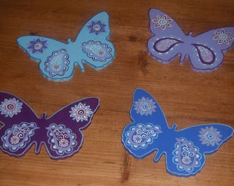 Flight of butterflies decorated with mandalas/70's vintage style wooden