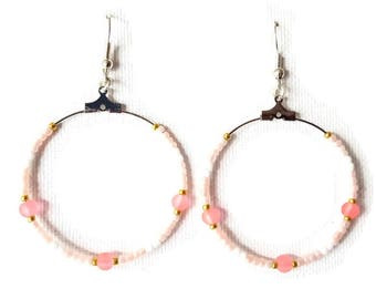 Salmon, white and gold Pearl Earrings