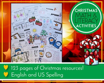 Christmas Literacy and Math Activities, Festive Printables, Preschool & Kindergarten Learning, Teaching Education Resource, Kids Activities