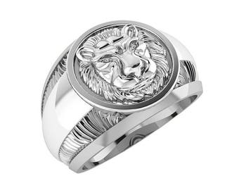 Lion Heart Men Ring Sterling Solid Silver 925 SKU4002