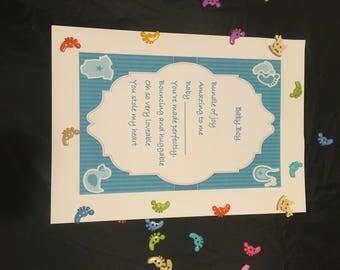Baby boy poem, new baby poem, new baby gift, baby boy gift, nursery wall art, personalised poem, nursery decoration
