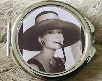 Vintage Audrey Hepburn Pocket mirror double sided silver round