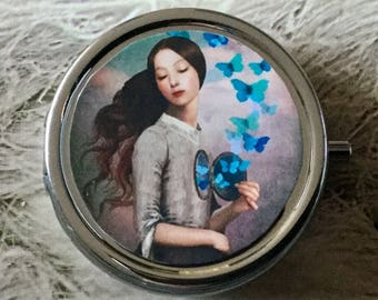 Pill boxes girl Butterfly silver round diameter 5 cm