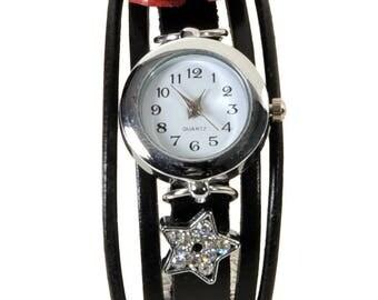 Watch jewelry black leather poppy London