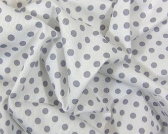 Pique cotton fabric printed polka dots on white background, price is for 50 cm