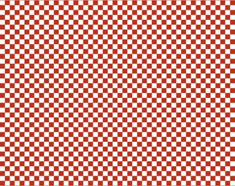 Red and White Checkered Fabric - Riley Blake Cotton Fabric. Quarter Yard, Half Yard, By the Yard
