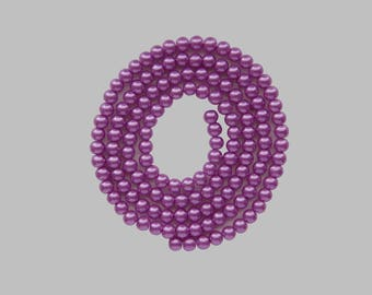 140 wire round Pearl 6mm purple glass beads