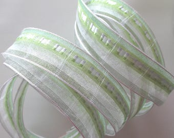 Fancy voile Ribbon - 5 - embroidered green and white No. 1509