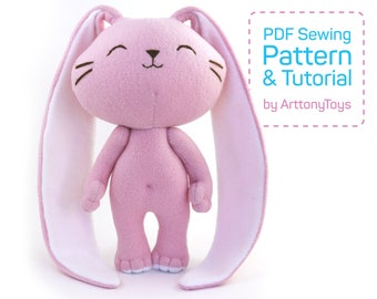 Cute Bunny sewing pattern PDF, soft Bunny template for sewing