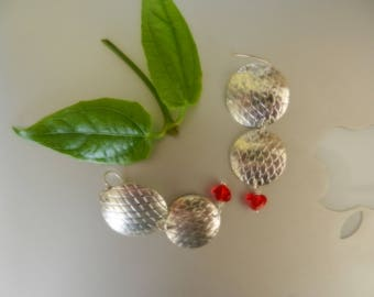 Highly textured Sterling silver with red Swarovski heart on Sterling ear wire