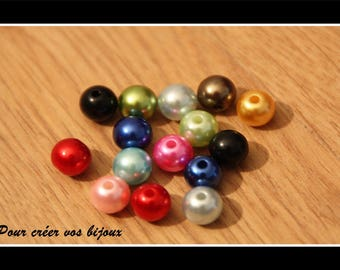 Lot 100 multicolor acrylic 8mm beads