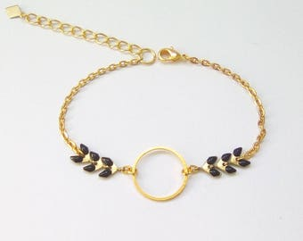 ORACLE - Brass Bracelet gold and black enameled chevron