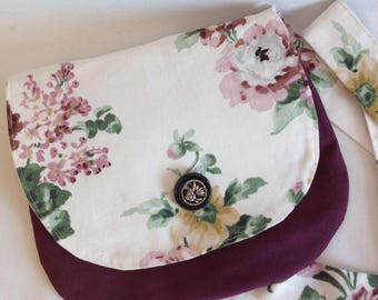 Shoulder strap and floral flap clutch bag